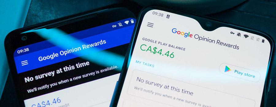 Google Opinion Rewards sur des smartphones Android et iOS